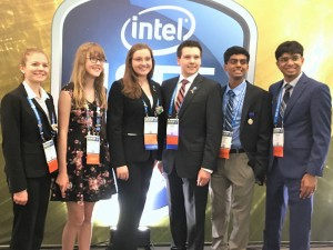 2018 Intel International Science and Engineering Fair Finalists; Nicole Hankovszky; Peyton Leyendecker; Evelyn Bodoni; Edwin Bodoni; Anand Chundi; and Krithik Ramesh